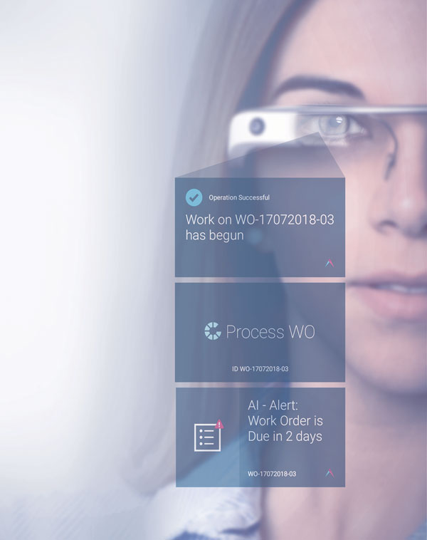 Woman wearing Google Glass presenting Plataine solution: wearable digital assistant