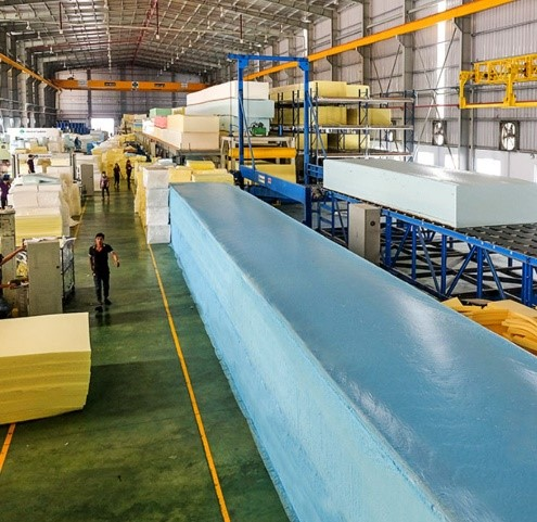 Rows of foam at a Foam manufacturing facility
